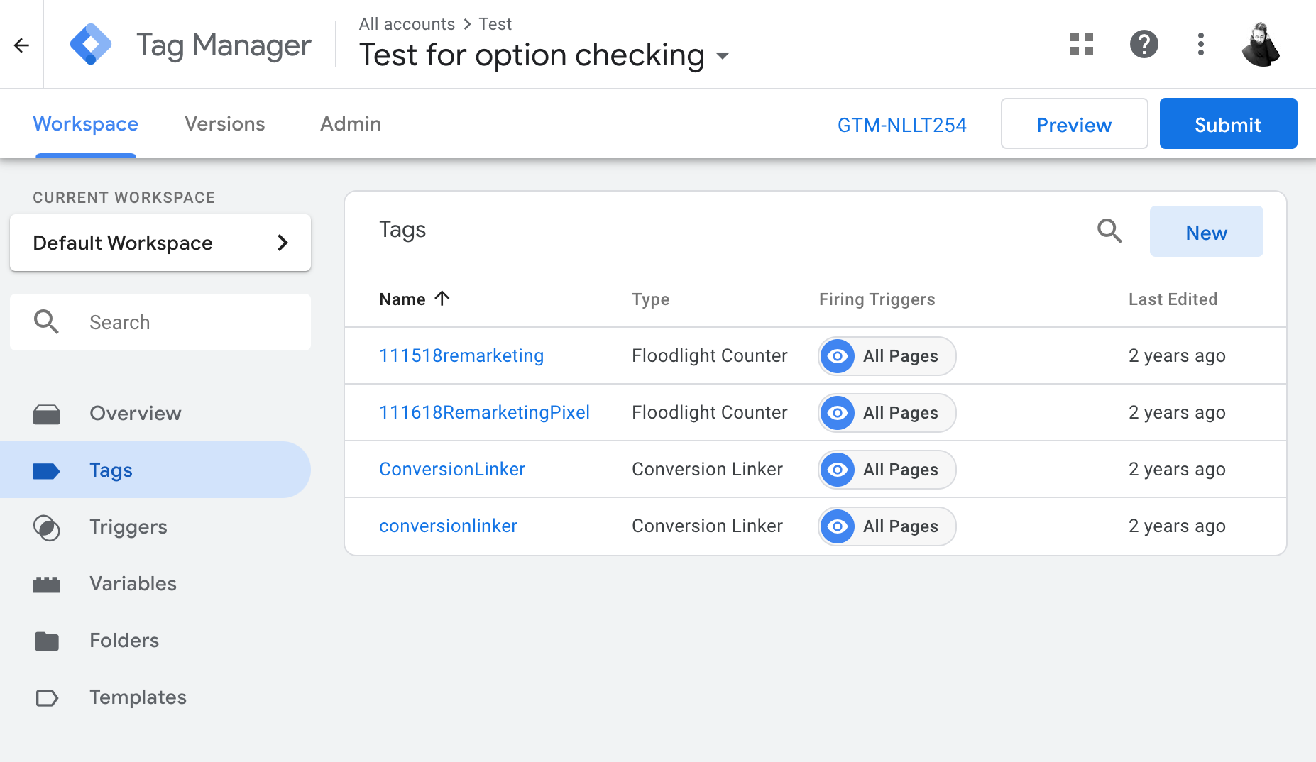 Tag Manager Select New